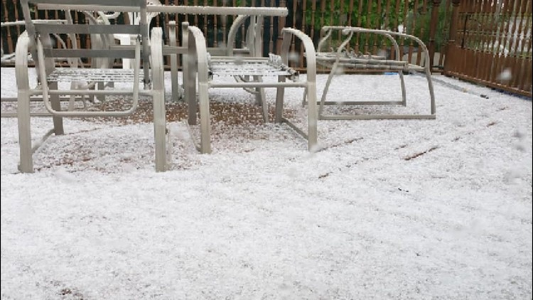 Rain and hail pound parts of the Northeast on a chilly weekend