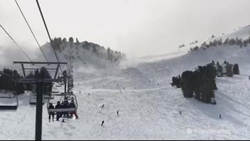 Snowboarder zips right through 'snow-nado'