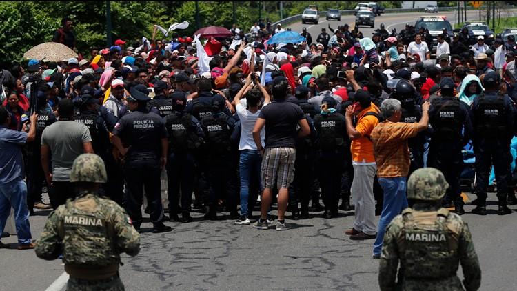 Mexican authorities stop a migrant caravan June 5 2019