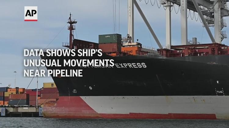 Data shows ship's unusual movements near pipeline