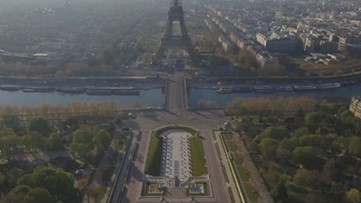 Drone footage shows empty streets of Paris