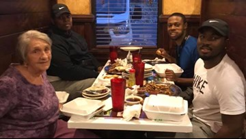 Men become unlikely friends with elderly widow mourning alone at restaurant