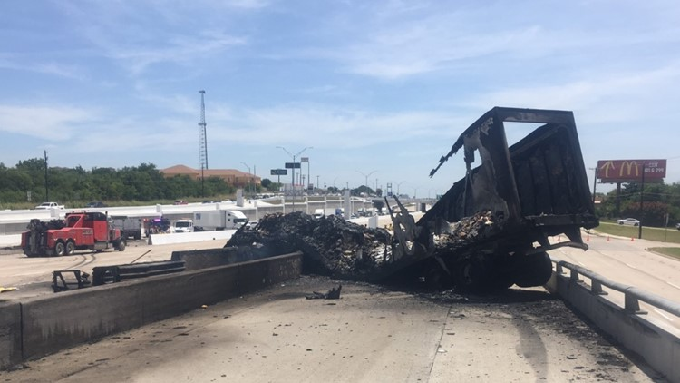 Semi-truck catches fire on I-35 after 8-vehicle crash in Temple