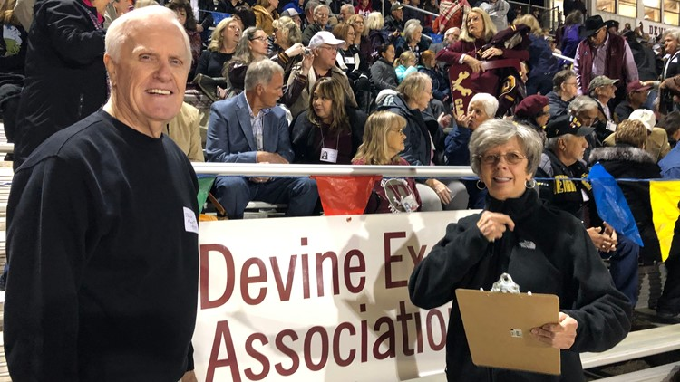 BKH John Hunt and Katie Shults at Devine football game in 2019