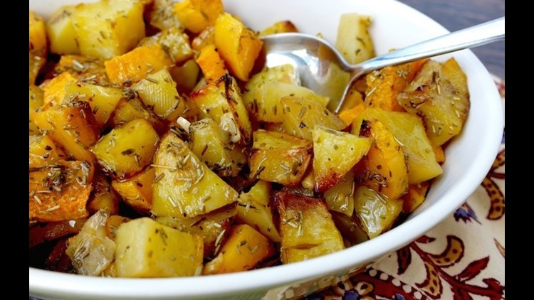 Roasted winter squash and roasted potatoes