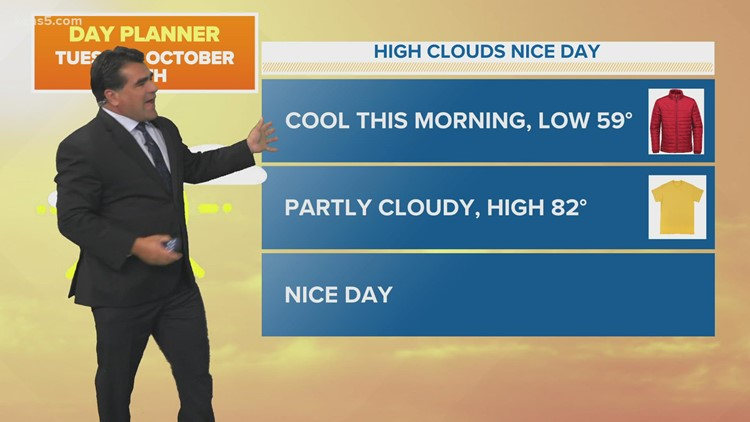 KENS 5 Weather: Cool start to Tuesday, but then T-shirt weather for the remainder