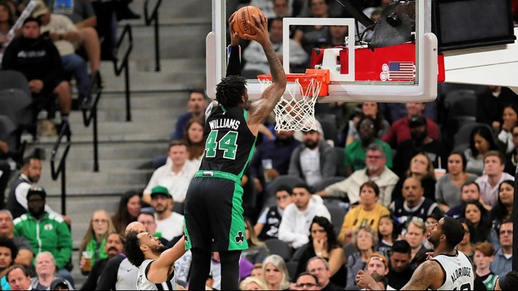 BKN Boston Celtics center-forward Robert Williams III dunks against the Spurs 11092019