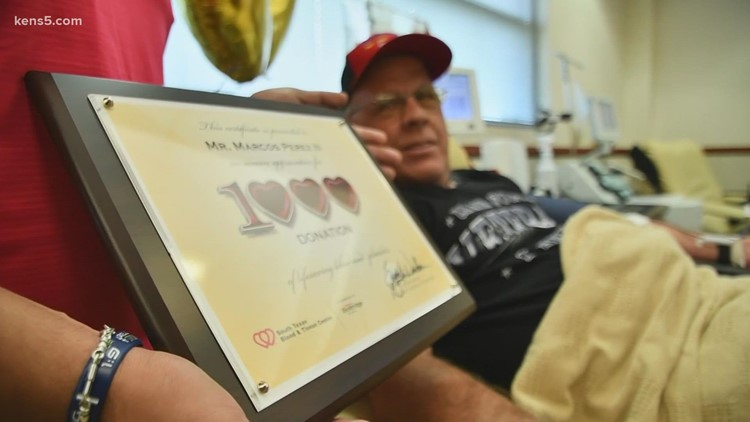 San Antonio man known as the 'Babe Ruth of blood and platelet donors' reaches 1,000 donations