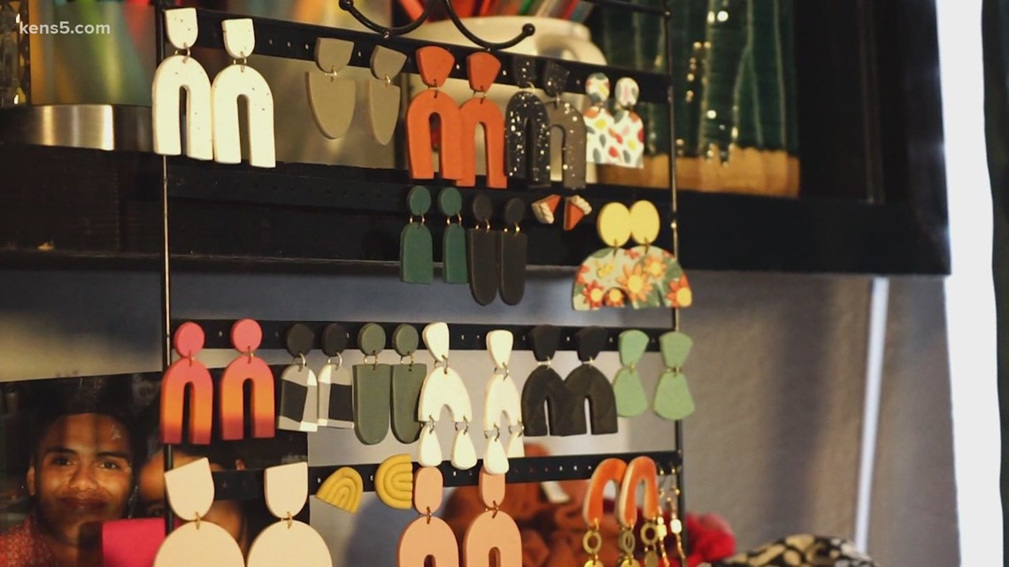 Young woman making clay earrings turns it into side business