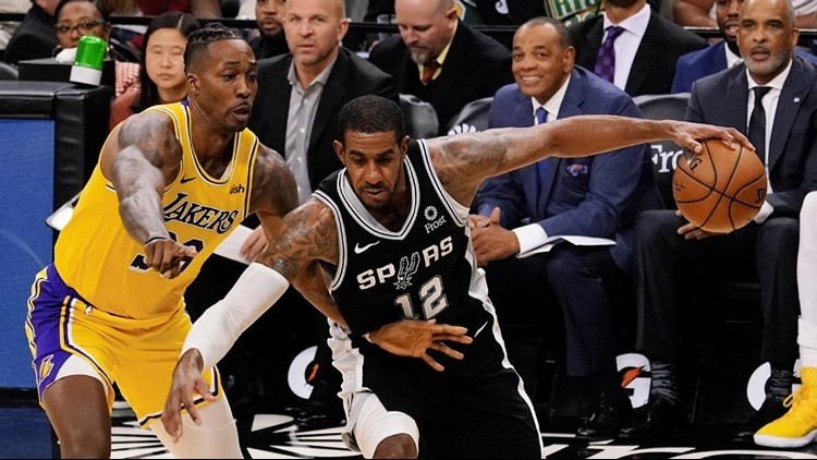 BKN Spurs power forward LaMarcus Aldridge going against Dwight Howard 11252019
