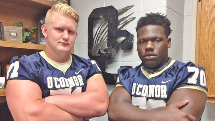 FBH OConnor offensive lineman Logan Parr and defensive lineman Pryson Greer