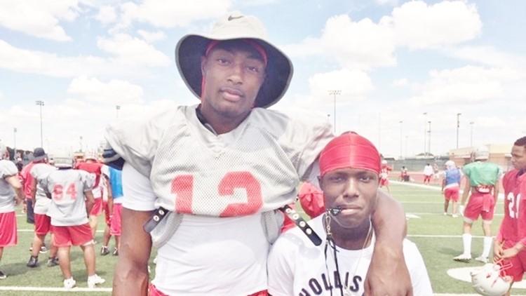 FBH Judson wide receiver Davion Wilson with Bryce Wisdom