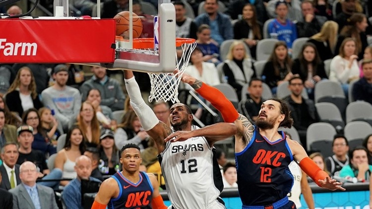 BKN Spurs forward goes to the hoop against the OKC Thunder