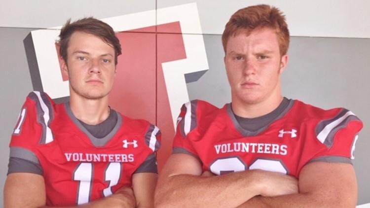 FBH Lee quarterback William Seabolt, left, and DL-TE Adam Bell