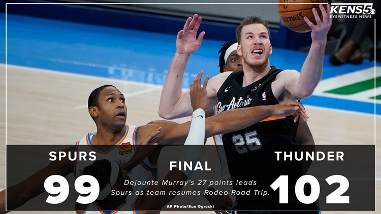 FINAL: Shorthanded Spurs lose heartbreaker at the buzzer 102-99 in Oklahoma City