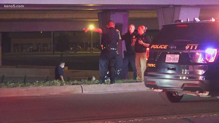 Deputy rear-ended after crash on I-35, suspect jumps off highway and breaks arm
