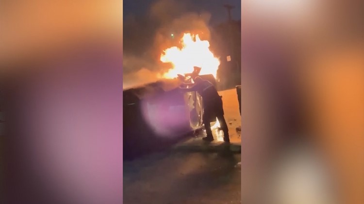 3 heroes save a woman from a fiery crash
