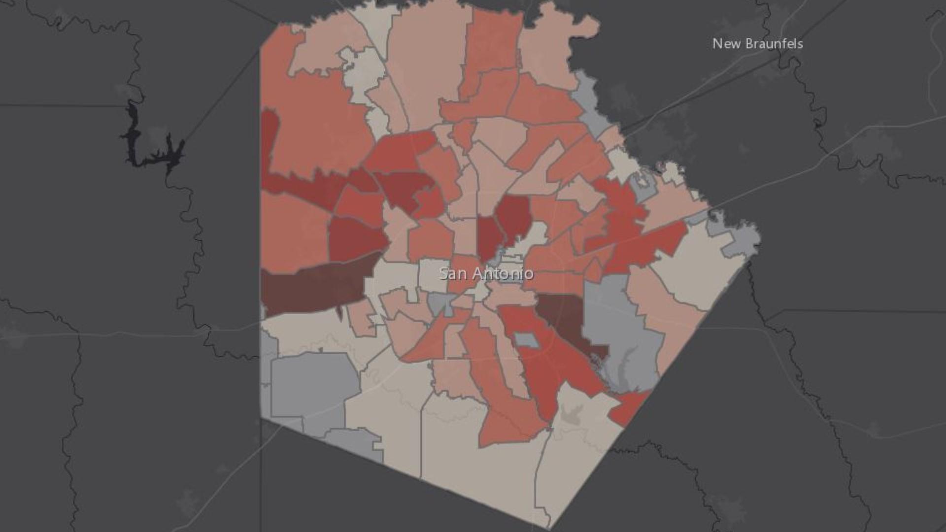 San Antonio Traffic Map Where are the coronavirus hot spots in San Antonio? | kens5.com