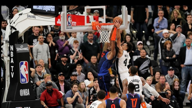 BKN Spurs guard Derrick White blocks a shot by Thunder guard Jerami Grant