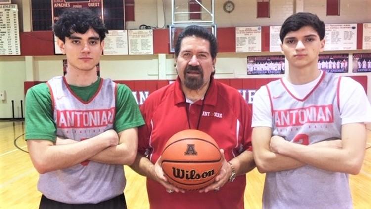 BKH Antonian coach Rudy Bernal with players Santiago Ochoa and Gavino Ramos