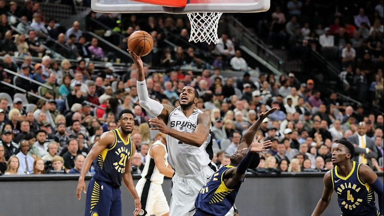 Spurs forward LaMarcus Aldridge going to the basket against Pacers