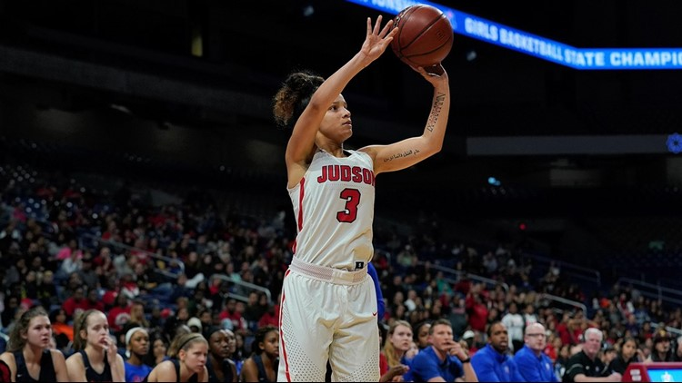 Judson junior guard Corina Carter shoots against Allen in state semifinal