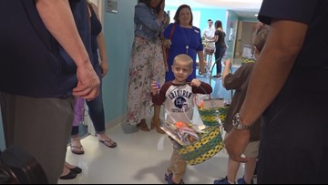 Children Battling Cancer at the hospital receive Easter gift from NCAA coaches