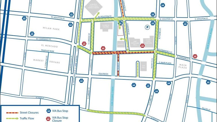 Section of Commerce Street to close for three months for ... on bus route map, boston t map, san francisco district map, via appia antica and catacombs map, via bus trip planner, downtown baton rouge city map, via bus utsa, via street car map, via san antonio metro map, windcrest via bus map, via info net map, san antonio via streetcar map, via bus shelter,