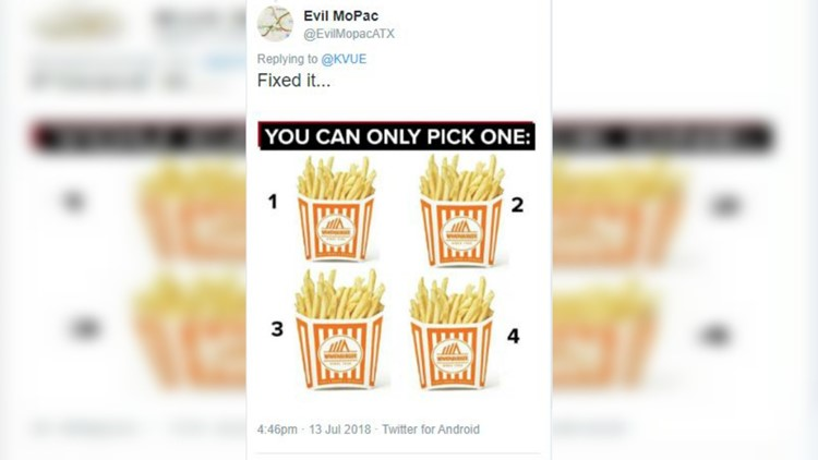 Evil MoPac fixed our #NationalFryDay graphic with the most clear, obvious Texan answer.