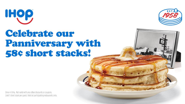 58 cent pancakes at IHOP to celebrate 'Panniversary'