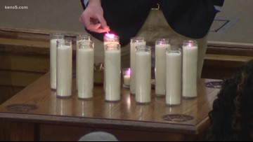 Inside memorial gathering at Temple Beth-El