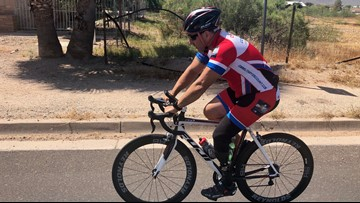 Amputee veteran traveling across U.S. on foot and two wheels, raising help for disaster relief organization