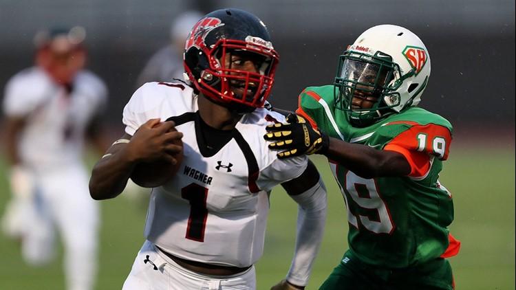 FBH Wagner quarterback Tobias Weaver on the run against Sam Houston_1538782332134.jpg.jpg