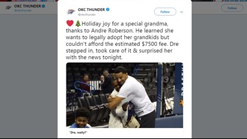 Andre Roberson donates money to help grandmother adopt grandkids