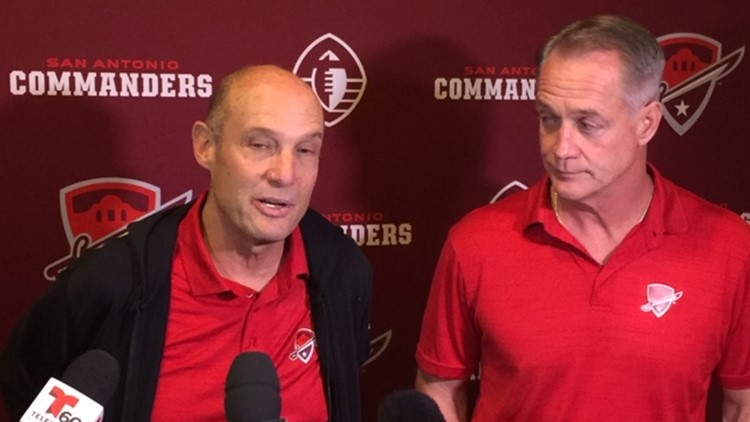 FBN Commanaders coaoch Mike Riley and GM Daryl Johnston at newser before start of camp_1546672997938.jpg.jpg