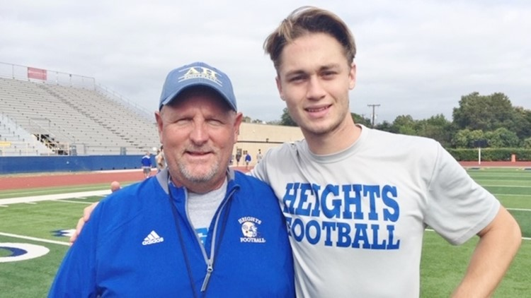 FBH Alamo Heights quarterback Koby Love and coach Mike Norment