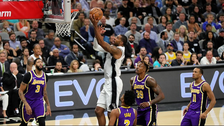 BKN Spurs forward LaMarcus Aldridge goes up for a shot against the Lakers 11032019