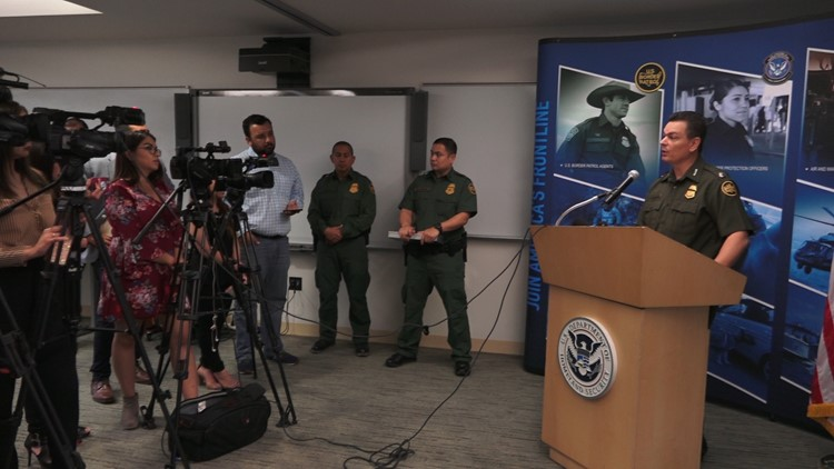 Border Patrol RGV Sector Chief Rodolfo Karisch addresses the media in Edinburg, Texas