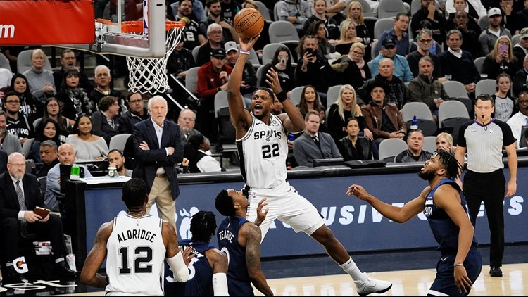 BKN Spurs forward Rudy Gay goes up for a shot against the Wolves 11272019