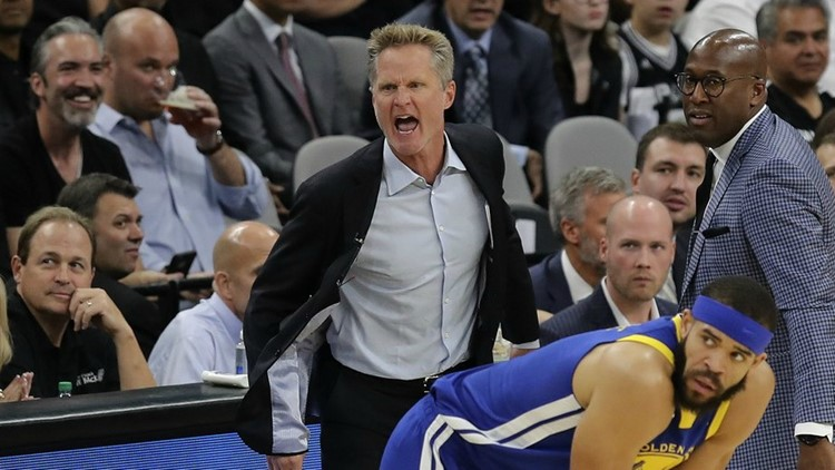 Golden State coach Steve Kerr, on the sidelines during the Warriors' 89-75 loss to the Spurs on March 19 at the AT&T Center, was a reserve guard on San Antonio's 1999 and 2003 championship teams.