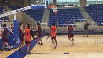 Brandeis players at final workout