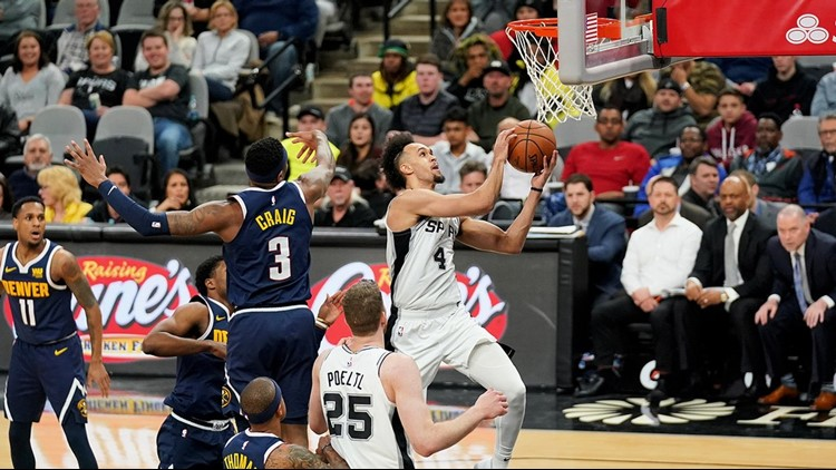 Spurs point guard Derrick White goes up for a layup against the Nuggets 0304