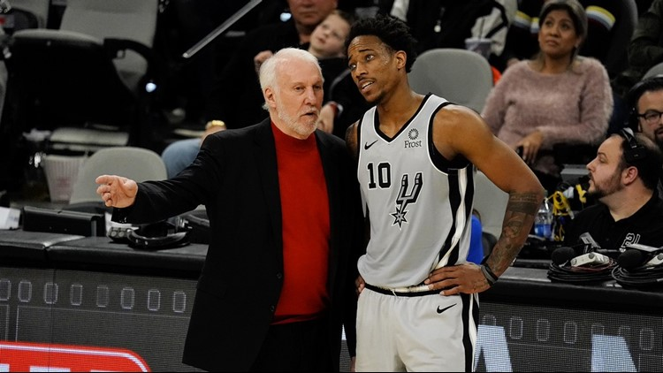 BKN Spurs forward DeMar DeRozan and Pop on sideline during game against Clippers 12212019