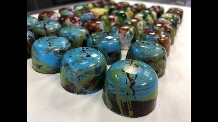 Hand painted chocolates by Chairty Teague Confections