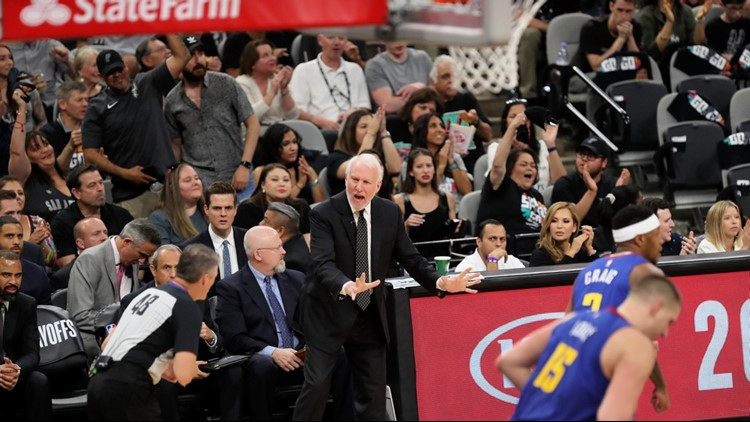 BKN Spurs coach Gregg Popovich protests a call during Game 4 against the Nuggets