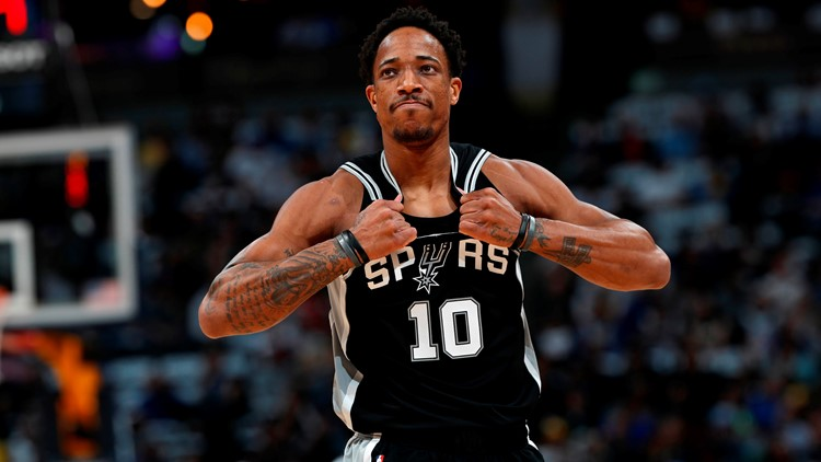 Spurs guard DeMar DeRozan scored 31 points in Game 2 against the Nuggets