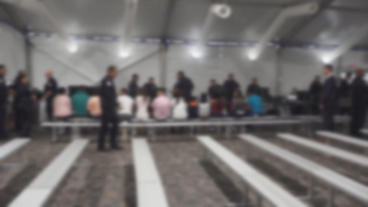 Inside a tent courthouse in Laredo where asylum claims are heard