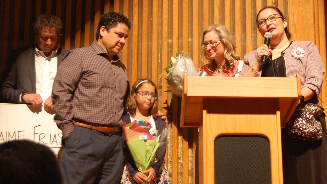 Jaime Frias presented with KENS 5 Credit Human EXCEL Award