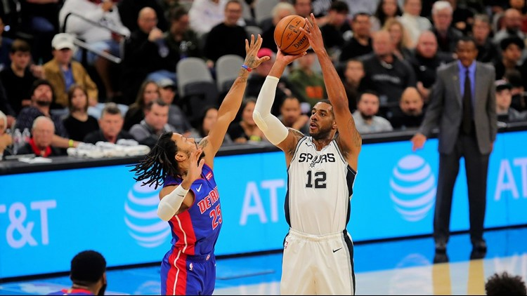 BKN Spurs power forward LaMarcus Aldridge shoots over Pistons guard Derrick Rose 12292019