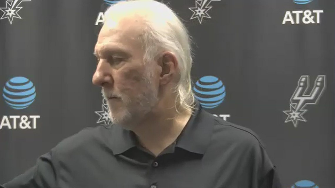 Coach Popovich speaks about player development before Spurs take on 76ers